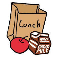 bag lunch with apple and milk